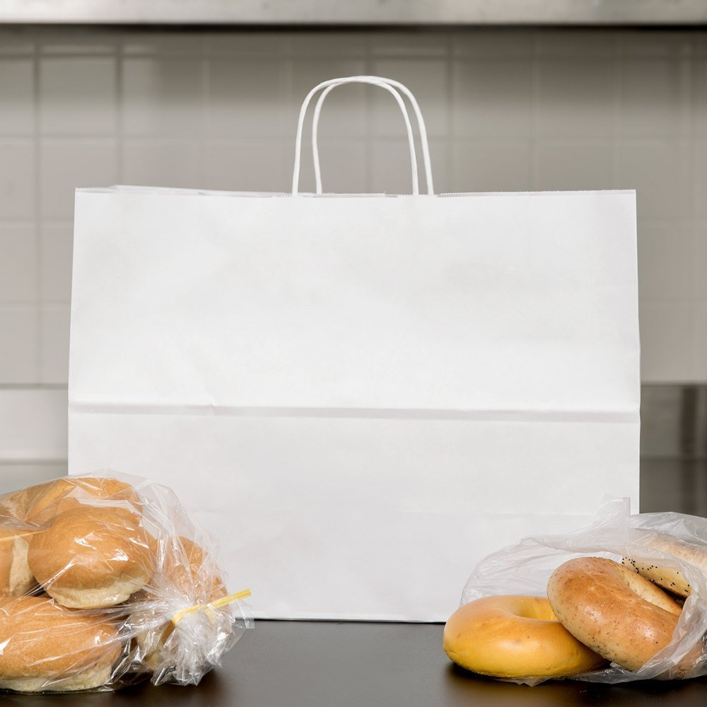 250pcs White Natural Kraft Mechandise Shopping Bag 65# Vogue, Natural White Paper Shoppers,16 x 6 x 12 1/2'' ~250 Bags-~ by SuitEase (Image #4)