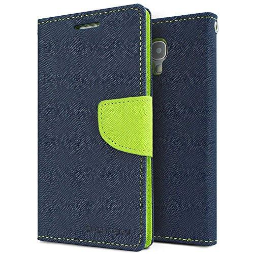 SDO Luxury Mercury Diary Wallet Style Flip Cover Case for Samsung Galaxy S4 Mini i9190  Blue