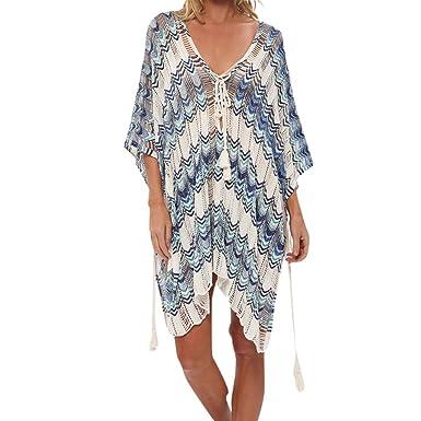 Amazon.com: Bañador para mujer, vestido de playa con borla ...