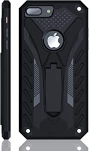 Kitoo Designed for iPhone 7 Plus Case with Kickstand, Military Grade 12ft. Drop Tested - Black