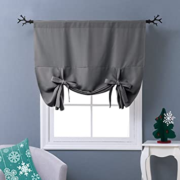 NICETOWN Thermal Insulated Grey Blackout Curtain   Tie Up Shade For Small  Window (Rod Pocket