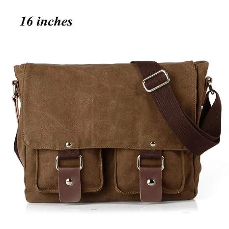 Yingbo Canvas Messenger Bag Shoulder Bag Laptop Bag Computer Bag Satchel Bag  Bookbag School Bag Working Bag for Men and Women (COFFEE)  Amazon.ca   Luggage   ... dd65a72db91
