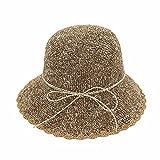 hand crochet fine sun visor suit color paper grass beach folding fisherman hat basin cap,Khaki,adjustable