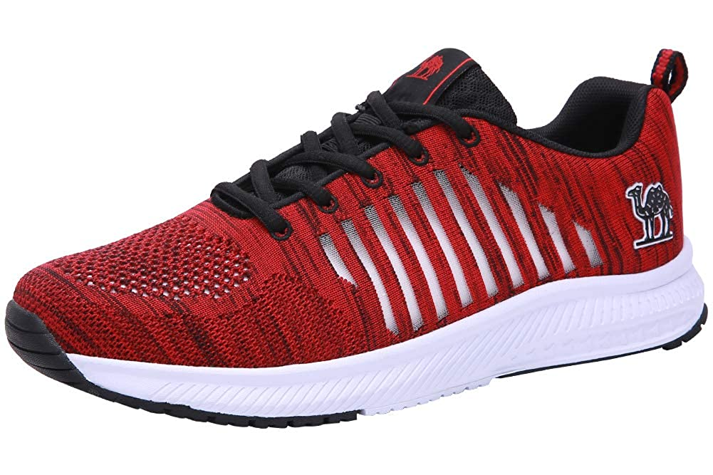 CAMEL CROWN Trail Running Shoes Men Super Lightweight Comfortable Tennis Shoes Fashion Mesh Breathable Casual Road Running Shoes for Men Red