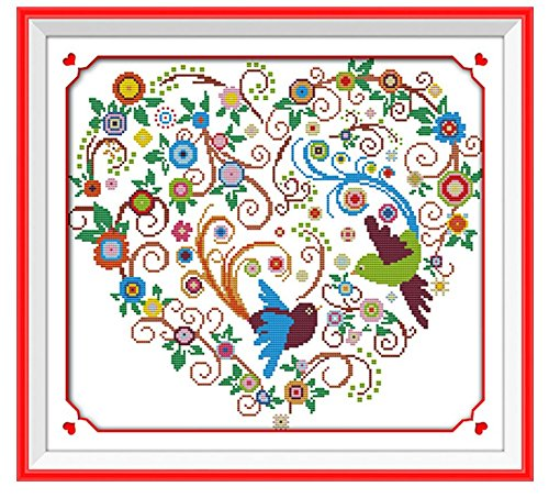 Cross Stitch Kit Colorful Phoenix Heart 51x46cm DIY Needlework Handmad Embroidery Home Room Decor