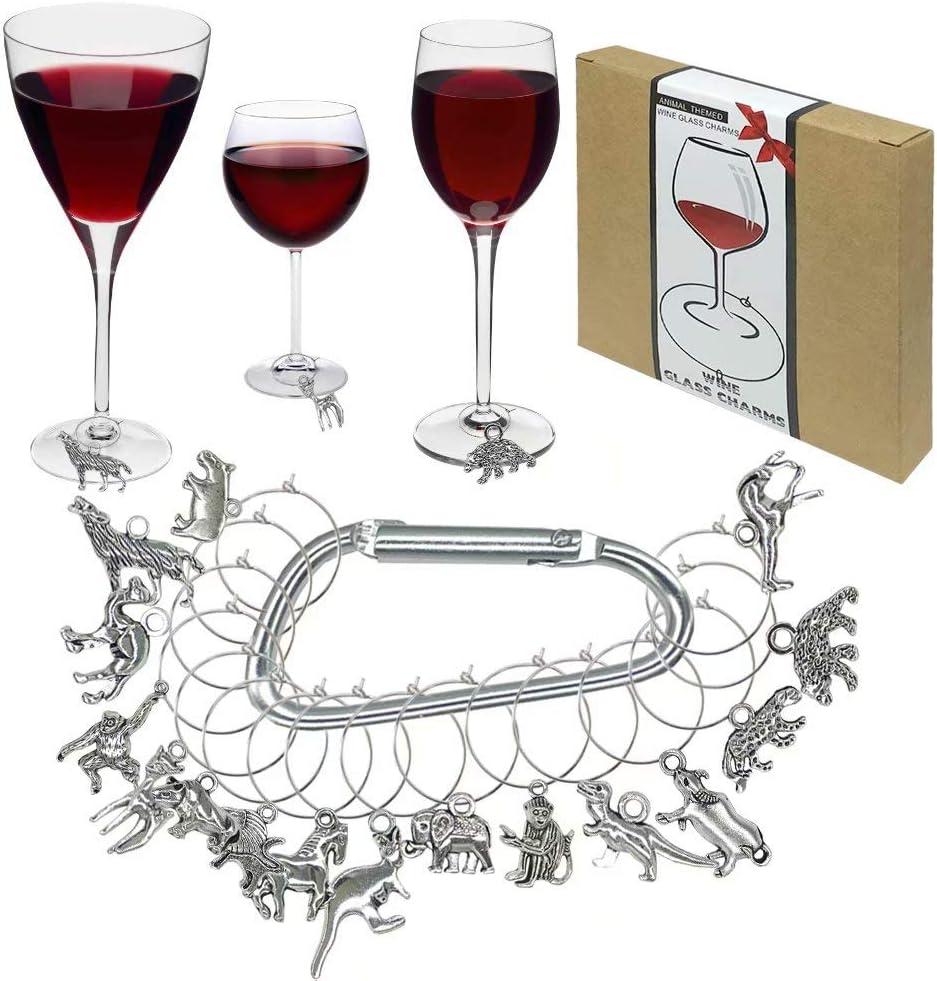 Geschenk Party-Dekoration 16-teiliges Set Weinglas-Charm-Marker Weinverkostung Tiermotive