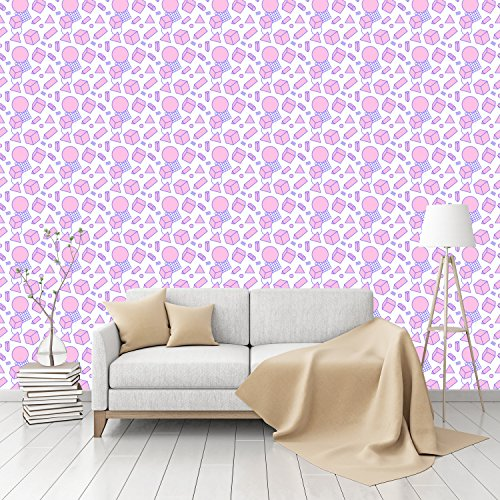 Retro Memphis Patterned Peel & Stick Smooth Wallpaper by (Retro 80s Wallpaper)