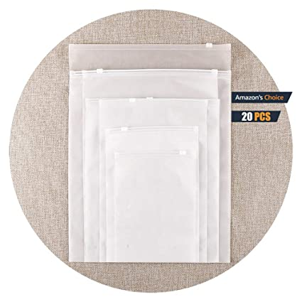 Bolsa de Plástico con Doble Cara Bolsa Helada Cremallera Impermeable Transparente Ropa Bolsa Viaje Engrosamiento Diario 25cm * 35cm [9.8in * 13.8in] ...