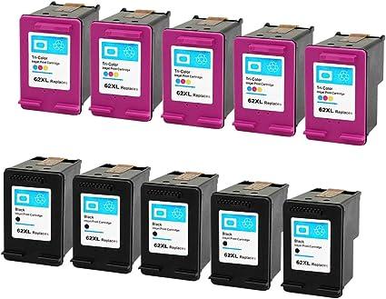 Eston 10 Pack cartuchos de tinta de repuesto para HP 62 X L negro/color trabajo en impresoras Hp Envy 5640, Envy 5642, Envy 5643, Officejet 5740, Officejet 5742, Officejet 5745: Amazon.es: Oficina y papelería
