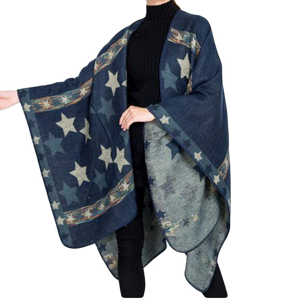 Coats For Women Winter Sale Liraly Fashion Blanket Oversized Five-Pointed Star Coat Wrap Plaid Cozy Shawl(Blue)