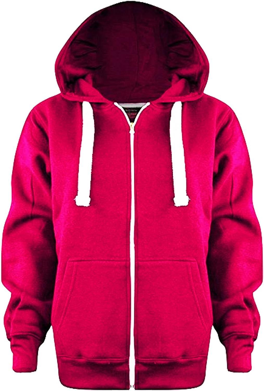 Vanilla Inc SA Fashions/® Boys Girls Junior New Zip Top Plain Fleece Hooded Sports Hoodie Football Boxing Martial Art Activewear Fitness Jacket School Holidays Outwear Coat 3-13 Yr