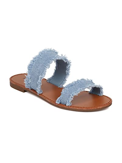 8e94a86ea1940a Breckelle s Women Frayed Denim Open Toe Double Band Flat Sandal HA19 - Blue  Denim (Size