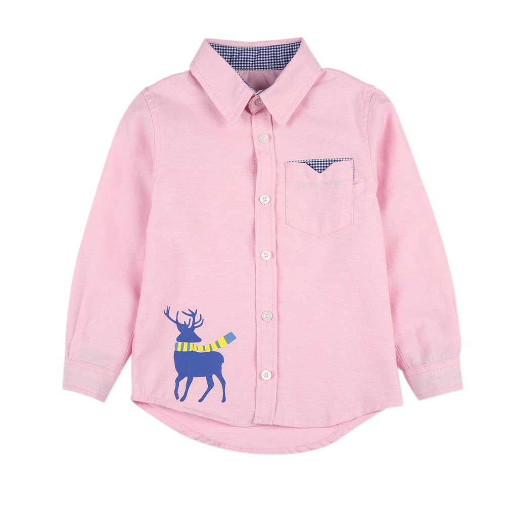BOBORA Boy Kids Long Sleeve Polo Shirt Children Solid Top Shirt with Spider Embroidery for Age 2-10 Yrs BO-UK721