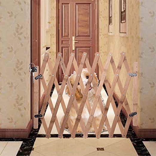Unique WElinks Indoor Wooden Dog Safety Gate Retractable Pet Dog Fence Gate Extendable Dog Barrier Grille Portable Dog Gate Guard Folding Dog Sliding Door Protector for Door /& Stairs