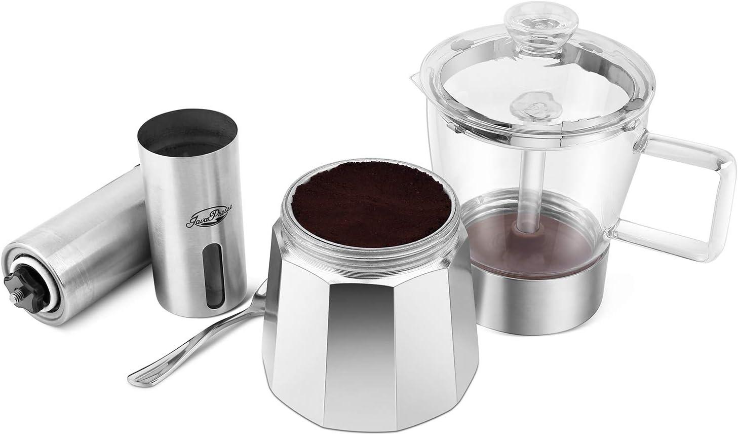 GEESTA Premium Crystal Glass-Top Stovetop Espresso Moka Pot - 6 cup - Coffee Maker