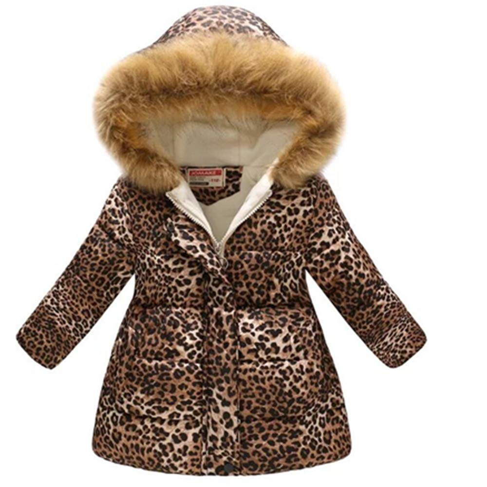 KAOKAOO Girls Kids Winter Flower Print Parka Outwear Cotton Coat Hooded Jacket