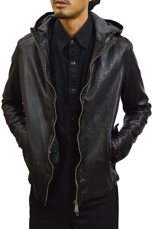 レザージャケット 革ジャン メンズ 本革 ライダースジャケット シングル フード パーカー ラムレザー ブルゾン 皮ジャン メンズアウター ブラック/グレイ M/L (ハルフレザー)Haruf Leather B076MF99MY  ブラック M