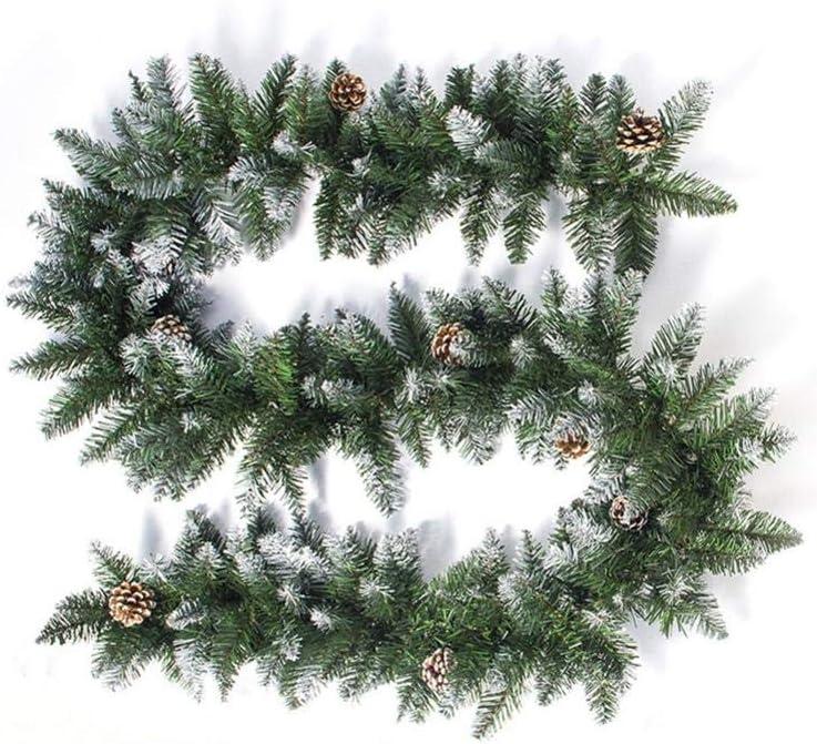 D.ragon 207cm Adornos de Navidad Artificiales 2020 Ratán de Navidad de PVC Blanco rociado Cono de Pino decoración para Las Puertas de Navidad Apto para Paredes de salón