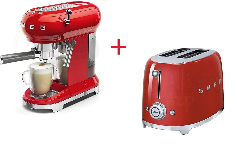 Smeg - Juego de 2 tazas de café y tostadora, color rojo ...
