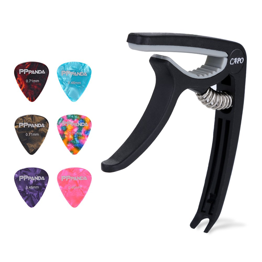 Guitar Capo, Ukulele Capo,PPpanda Trigger Capo Capotastos for Acoustic Electric Guitars and Ukulele with 6 picks