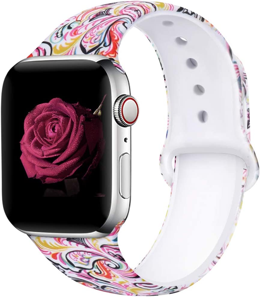 EXCHAR Compatible with Apple Watch Band 40mm 38mm Fadeless Pattern Printed Floral Bands Silicone Replacement Band for iWatch Series 4 Series 3/2/1 for Women Men S/M Flower J11