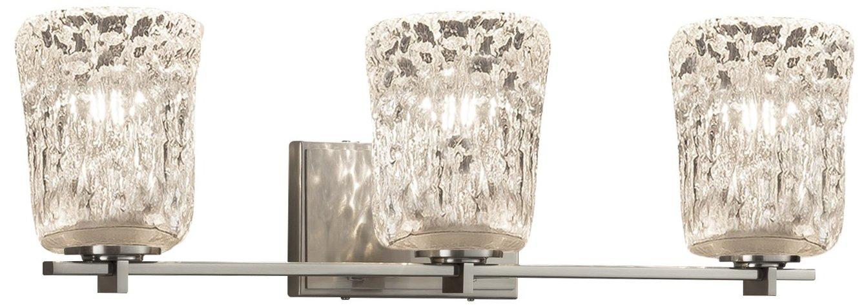 Justice Design Group Lighting GLA-8443-16-CLRT-MBLK-LED3-2100 Veneto Luce Era LED 3-Light Bath Bar-Matte Black Finish with Clear Textured Venetian Glass Cylinder with Rippled Rim Shade
