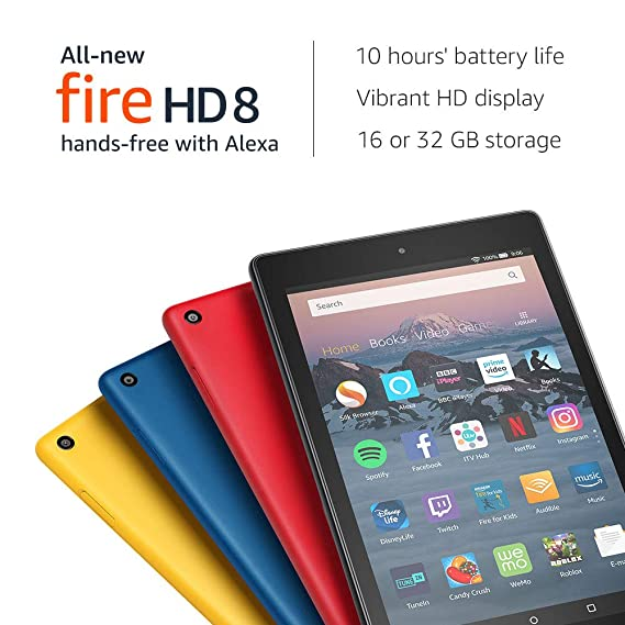 """All-New Fire HD 8 Tablet with Alexa, 8"""" HD Display, 16 GB, Yellow - with Special Offers-Best-Popular-Product"""