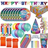 Birthday Party Supplies and Decorations for 8: 100+ Pieces. Plates, Cups, Cutlery, Squiggle Straws, Napkins, Tablecloth, Birthday Banner, Birthday Hats, Balloons, Blowouts, Cake Topper, Candles …