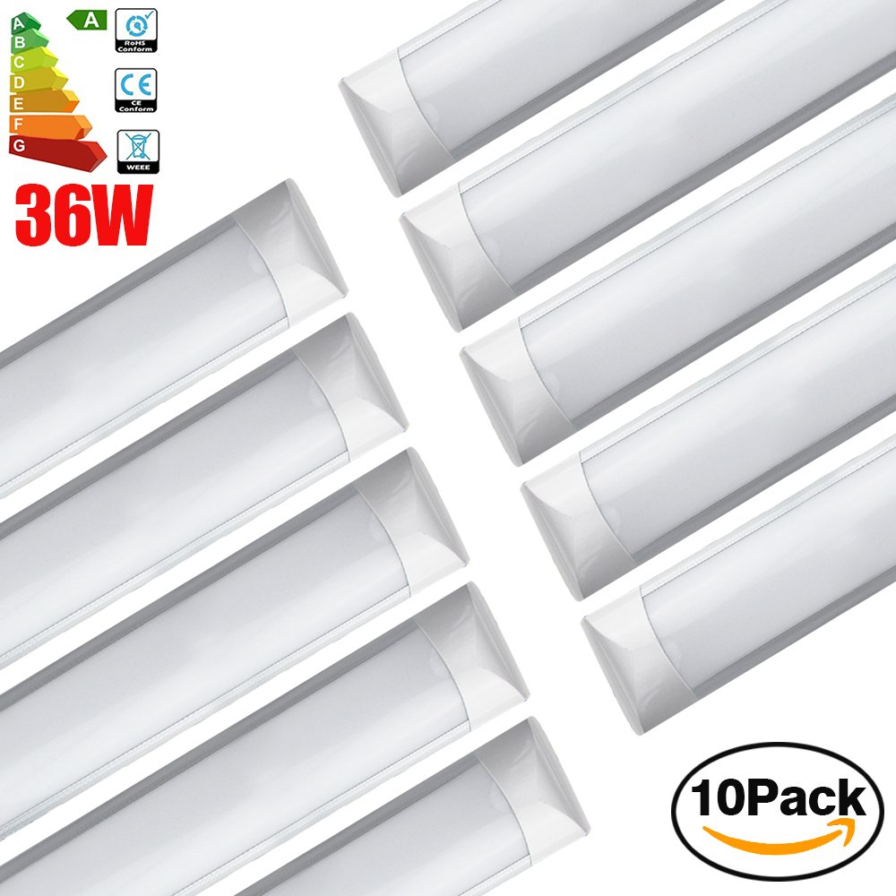 Excellent Surface Mounted LED Batten Tube Lights, 1.2m 4ft, 3000lm, 6000K Day White, 10er Pack