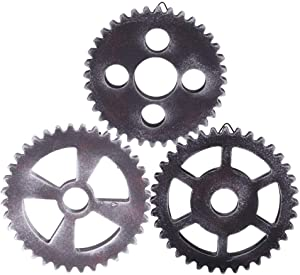 SHANGUP 3 Pieces 12cm Vintage Wooden Gear Combination Steampunk Gear Wheel Decor fit for Home Wall Bar Decor Art Craft Wall Decoration Gift