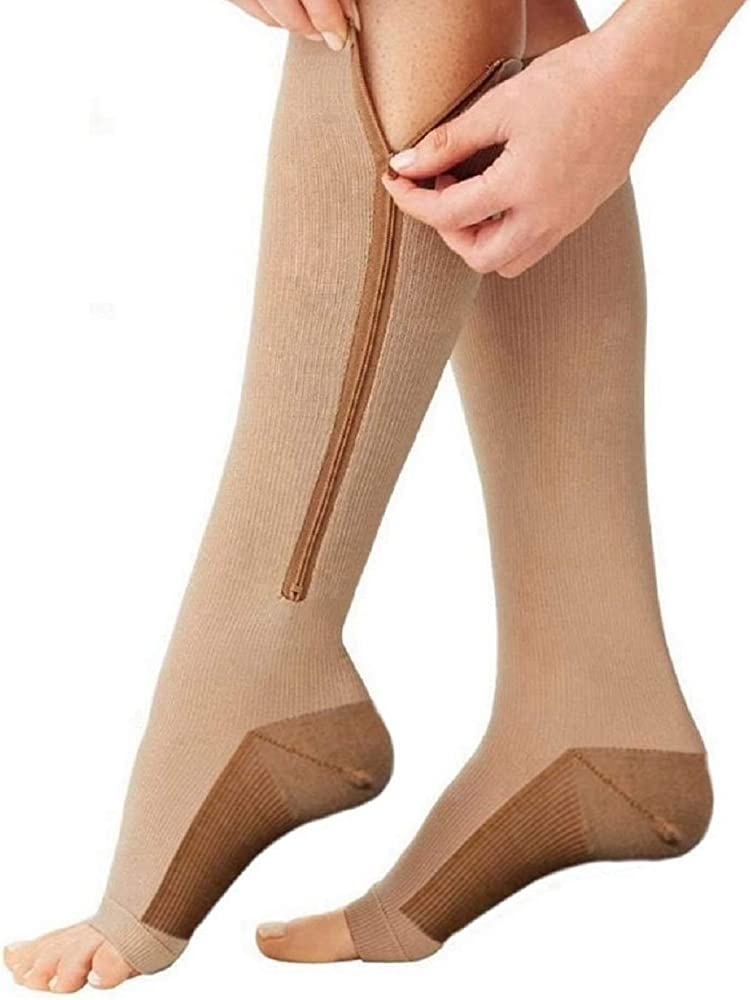 Bcurb Zippered Medical Compression Socks 2 Pair Open Toe Zipper Stockings