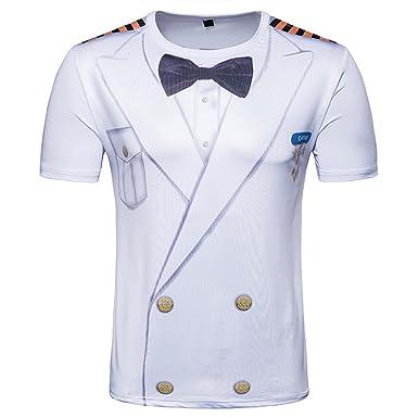 Amazon.com  K-Men Mens Classic Tuxedo Printed Short Sleeve Funny T ... f80d4b52b