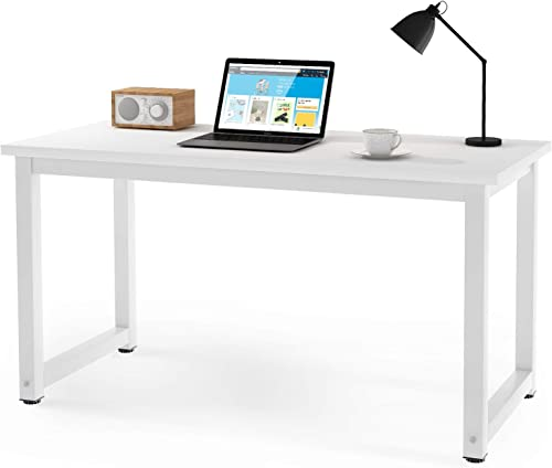 QIHANG-US White Computer Desk Gaming Desk I Shape Student Desk Bedroom Corner Desk Modern Wood Office Desk Study Desk for Kids Adults Reading Writing Working Drawing Room Corner Home Office 47 Width
