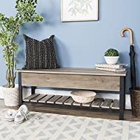 WE Furniture AZ48PCSBGW Open-Top Storage Bench, Gray Wash