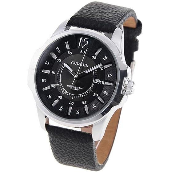 Reloj negro de los hombres de la vendimia de la exhibición de la fecha de la venda del cuero del negro del reloj de los hombres negros: Amazon.es: Relojes