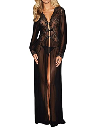 1990db3b415 Lacoco Sheer Long Sleeve Lace Robe with Thong Sexy Lingerie for Women for  Sex Lace Lingerie