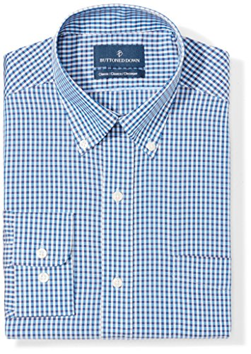 Buttoned Down Men's Classic Fit Button-Collar Pattern Non-Iron Dress Shirt, Blue/Brown Check, 18