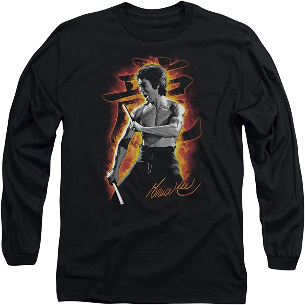 Bruce Lee Martial Arts Dragon Fire Adult Long Sleeve T-Shirt Tee
