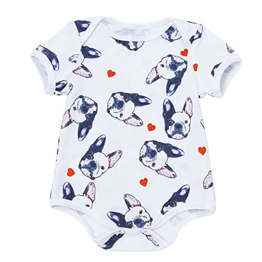 e70086ed81b Fineser Baby Girls Boys Snap-up Romper Cute Summer Cartoon Jumpsuit Outfits  Clothes (White