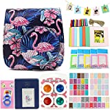 QUEEN3C Instax Mini 9 Case Accessories Kit Bundle for Fujifilm Instax Mini 9 or 8/8+,Include: Camera Case/Album/Color Filters/Selfie Lens/Photo Decor Stickers & More.(Flamingo black)