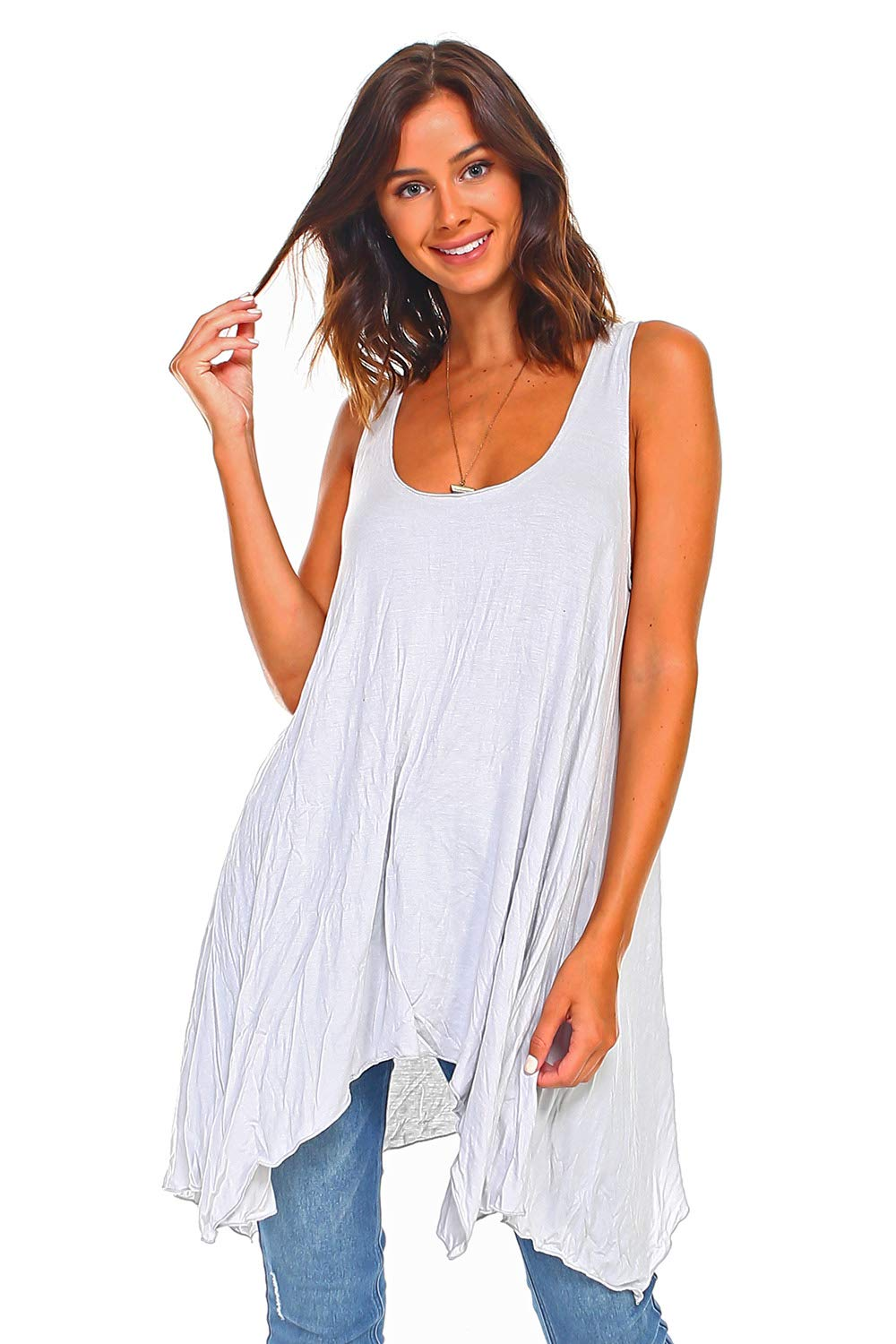 Simplicitie Women's Sleeveless Swing Flare Tunic Dress Tank Top - Regular and Plus Size - Grey - Made in USA