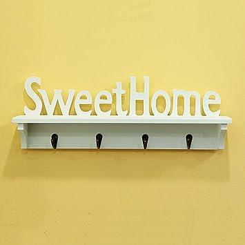 xytmy Sweet Home – Perchero ganchos WPC (madera Thermo – plástico compuesto) soporte de pared perchero para sombreros o llave gancho acabado blanco | ...