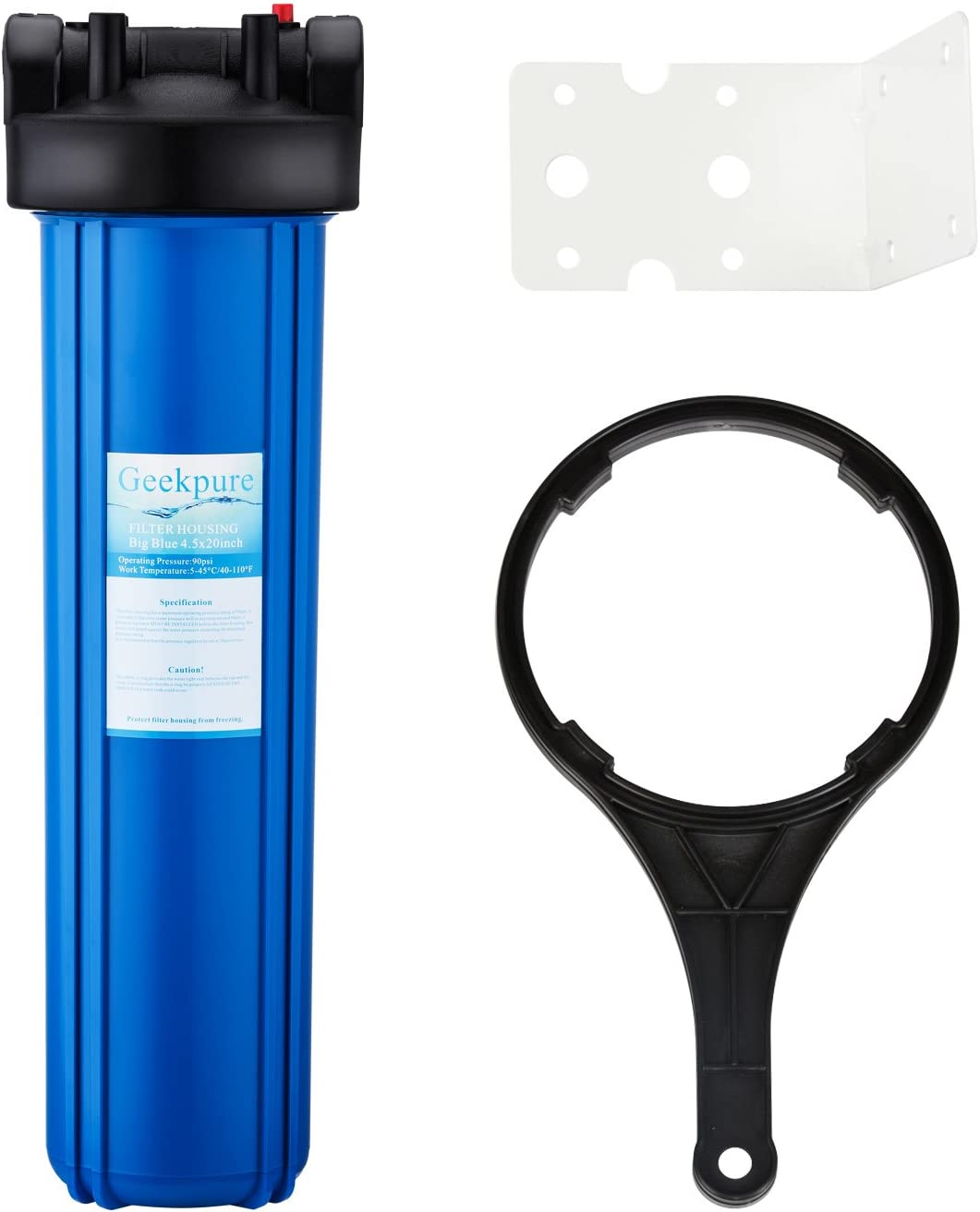Geekpure Whole House 20 Inch Big Blue Water Filter Housing 1-Inch Inlet/Outlet with Wrench and Bracket -4.5 Inch x 20 Inch -Blue Color