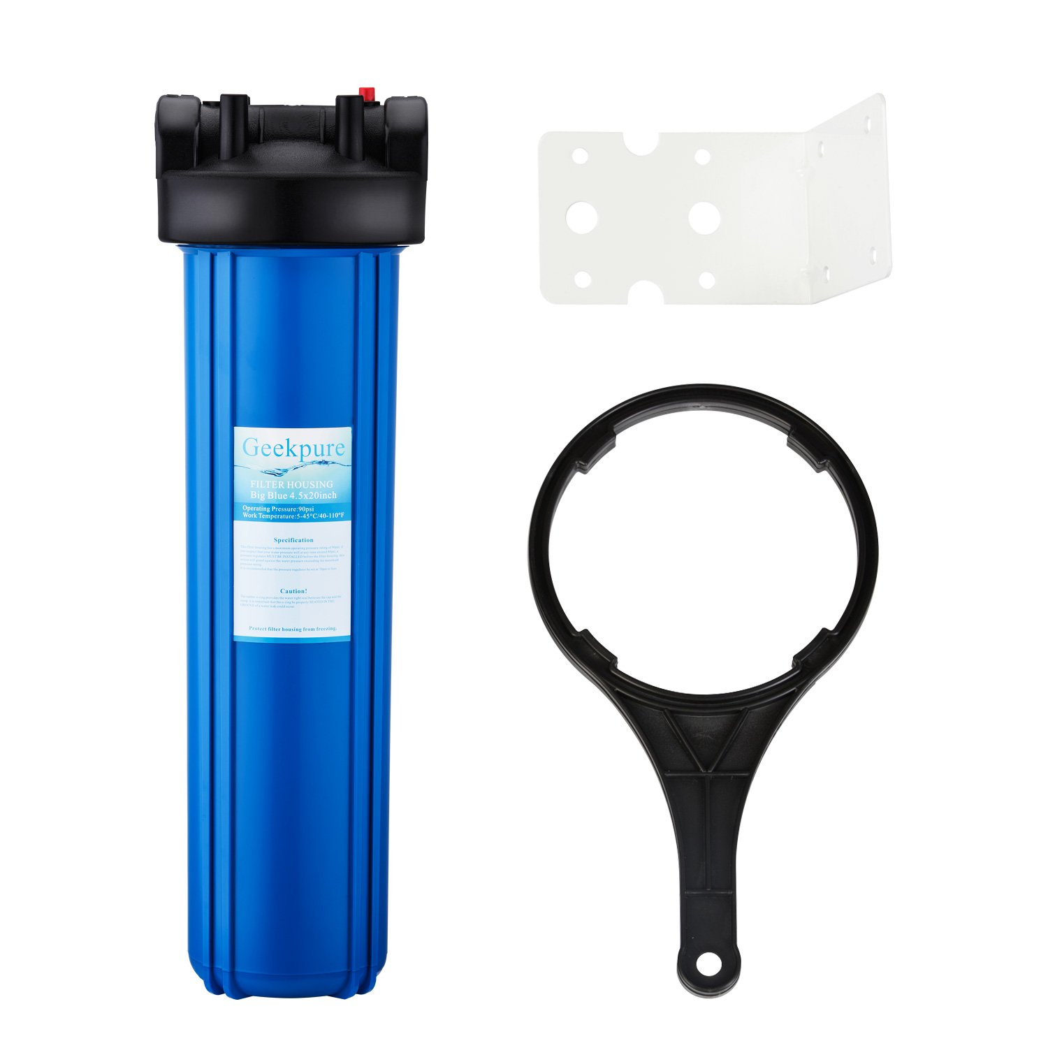 Geekpure Whole House 20 Inch Big Blue Water Filter Housing 1-Inch Inlet/Outlet with Wrench and Bracket -4.5 Inch x 20 Inch -Blue Color by Geekpure