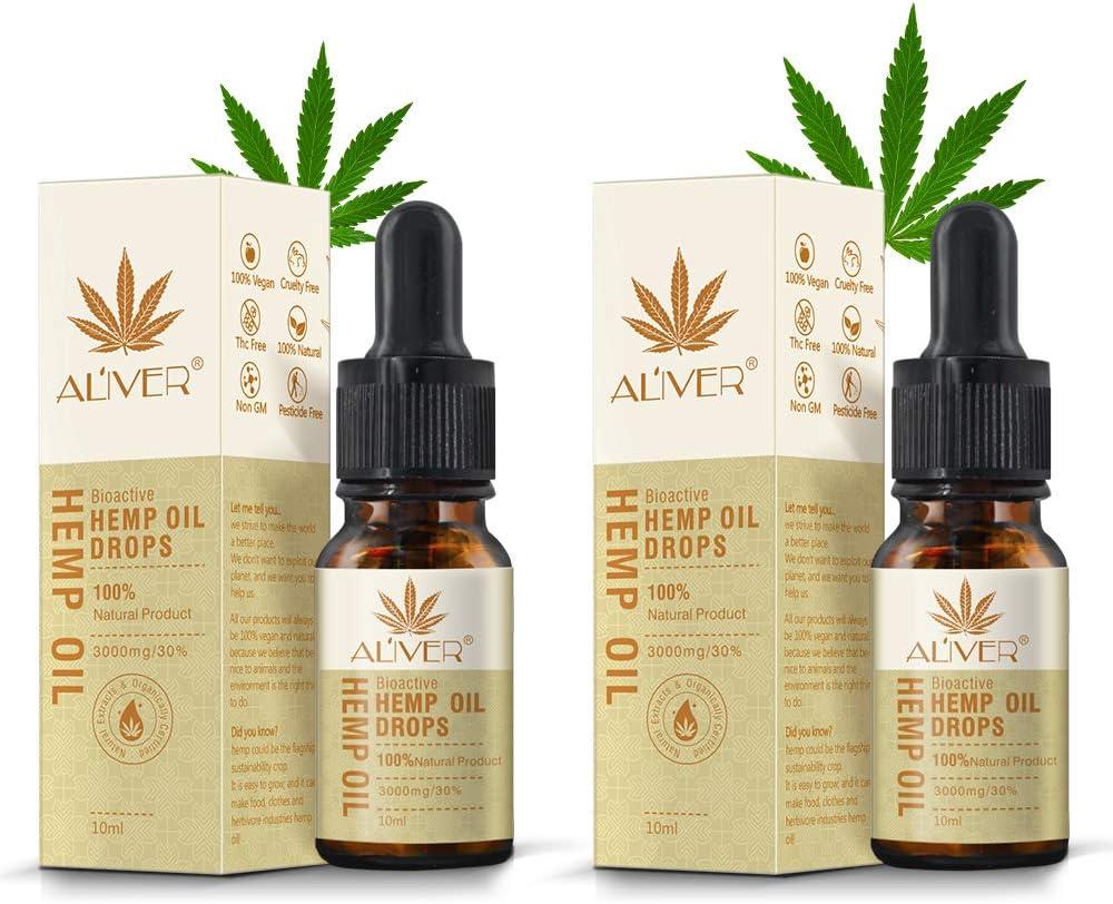 Aceite Bio-activo HEMP - 30% (3000 mg) Fórmula Ultra Premium de Espectro Completo Orgánico - Gota de Aceite de Cáñamo para el Alivio de la Ansiedad Ayuda al Sueño Reducir el Estrés Vegan Friendly