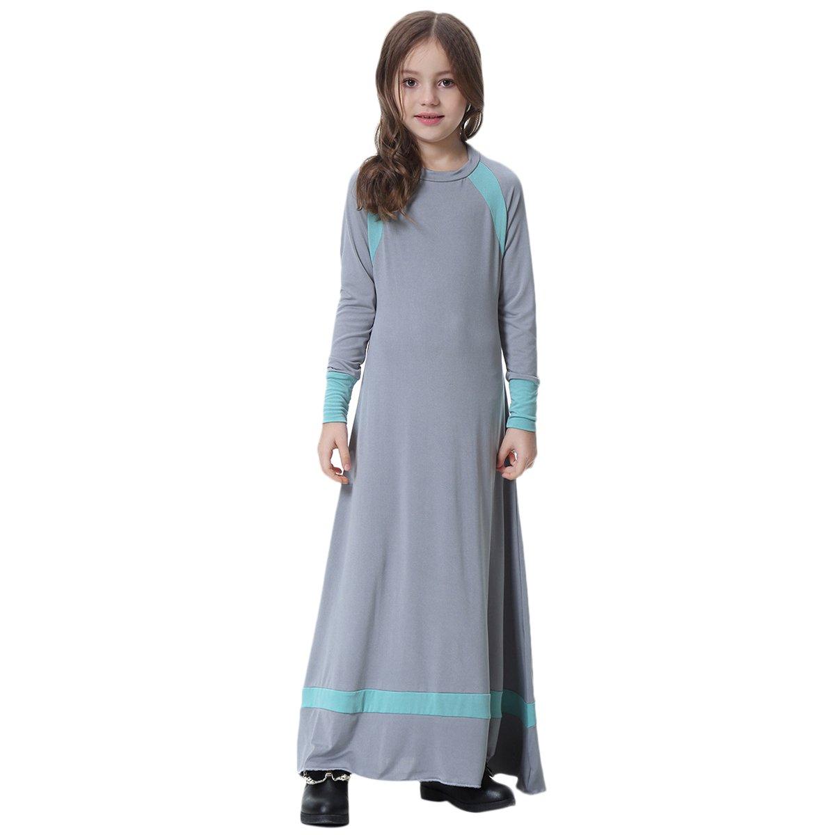 8e1f25ad6ff3b Enfant Fille Robe Musulmane Abaya Islamic Manches Longues Col Rond Robe  Maxi Elegante Moyen-Orient