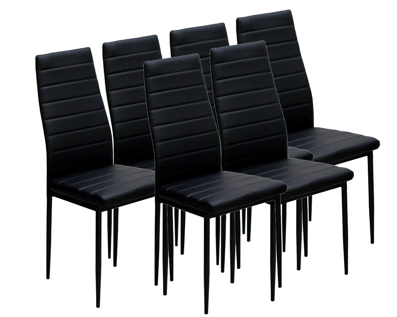IDS Online 6 PCS Set Modern Style PU Leather Dining Side Chair with Foot Pad Black by IDS Online (Image #4)