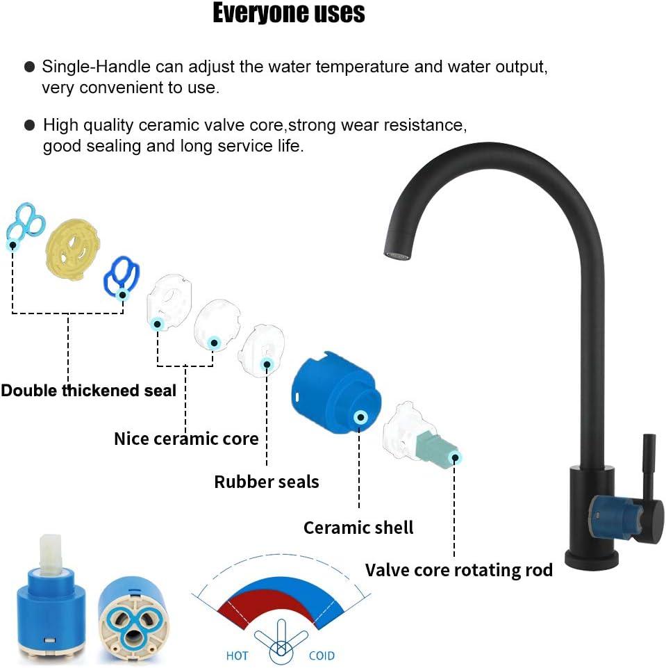 Sensor t/áctil extra/íble Grifos,Onda de movimiento Arco alto Manija simple,Lavabo del ba/ño Grifos,V/álvula de cer/ámica,Mezclador de agua caliente y fr/ía,para una Habitaci/ón,Cocina,Garaje etc-Negro