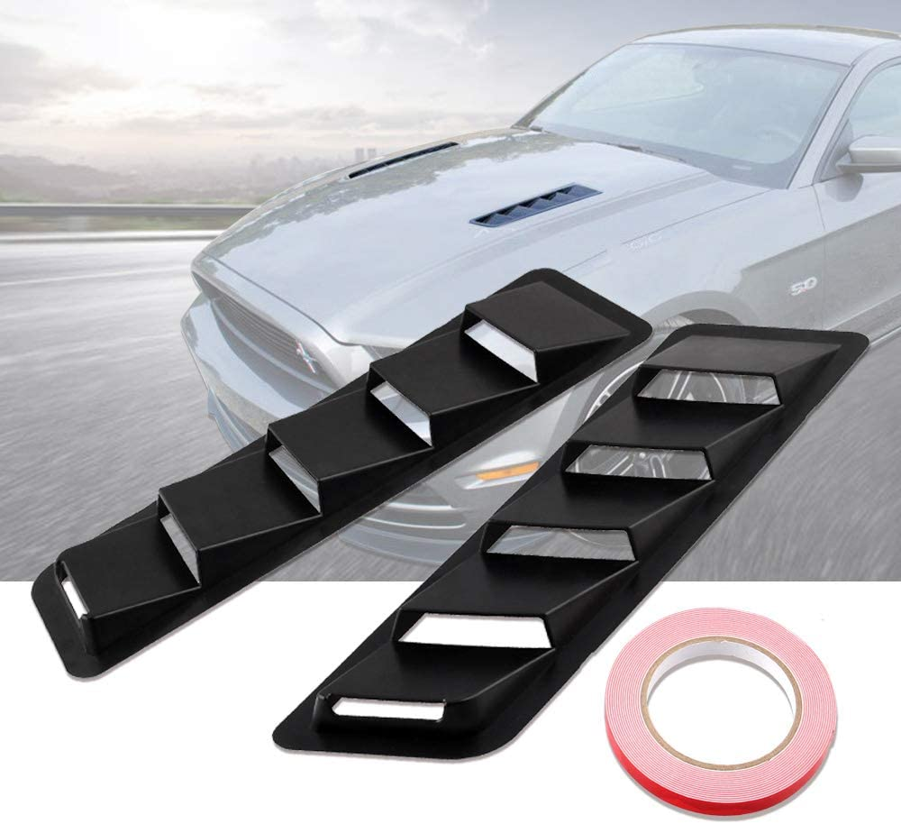 Andyshi Air Flow Intake Universal Scoop Bonnet Side Fender Car Decorative Cover Hood Vent Louver Cooling Panel Trim Set Matte Black ABS Plastic