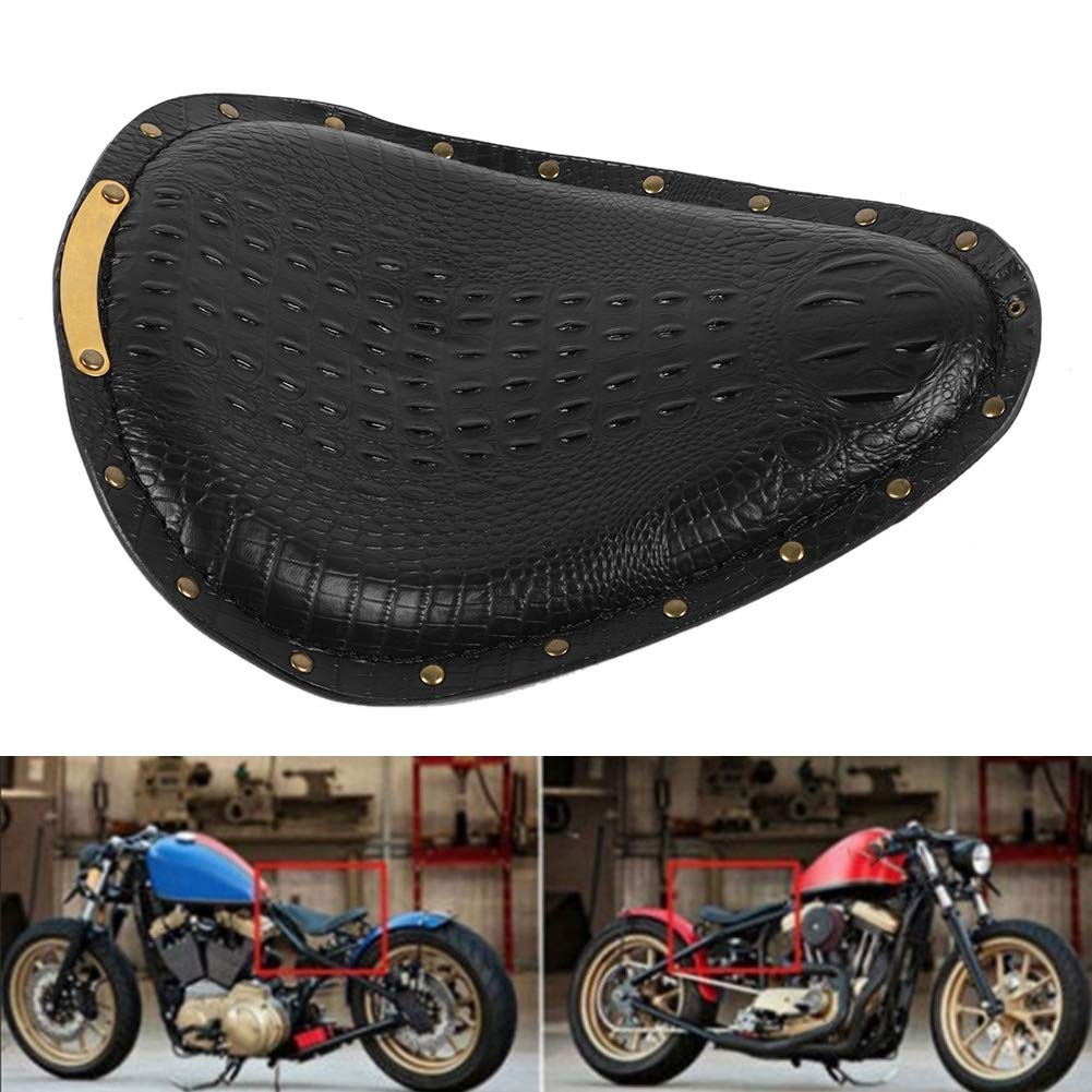 Gorgeri Asiento de moto Asiento de moto Cuero de PU Asiento de grano de cocodrilo Coj/ín Retro Universal